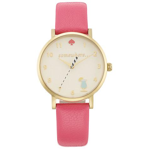 Kate Spade Happy Hour Metro Leather Strap Watch, Flamingo Pink/White