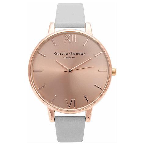 Olivia Burton Leather Strap Watch Gift Set, Grey/Dusky Pink