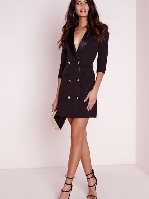 Petite long sleeve tuxedo dress black