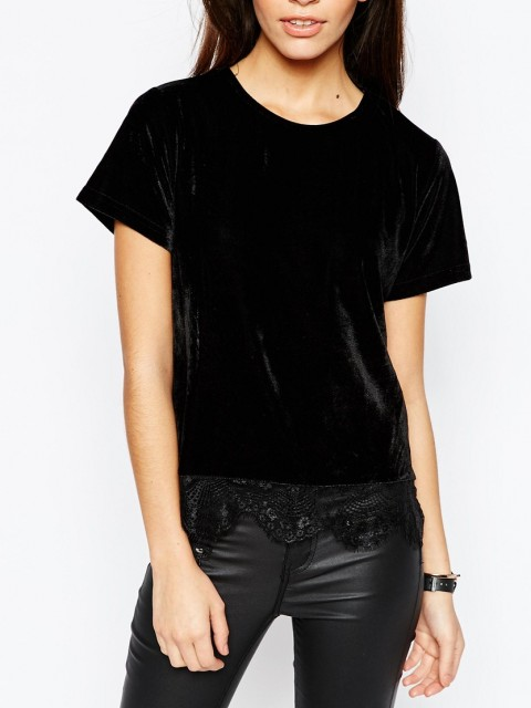 New Look Velvet Trim Velvet Top