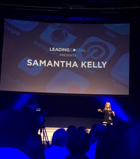 Samantha Kelly speaking at #GaryVeeDublin event in Dublin.
