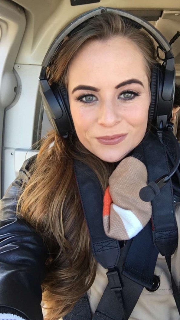 Sophie in helicopter