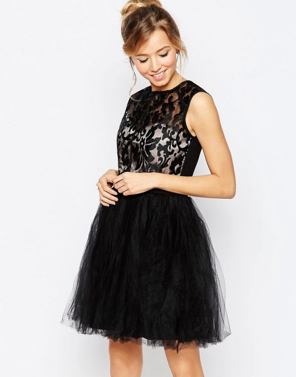 ASOS Little Mistress Prom occasion Dress with Metallic Lace Top