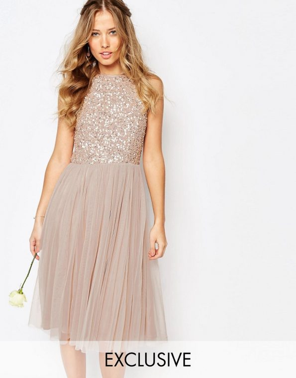 ASOS Maya High Neck Midi Tulle occasion Dress With Tonal Delicate Sequins