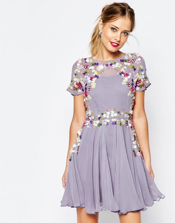 ASOS SALON 3D Floral Embellished Mini Skater occasion Dress