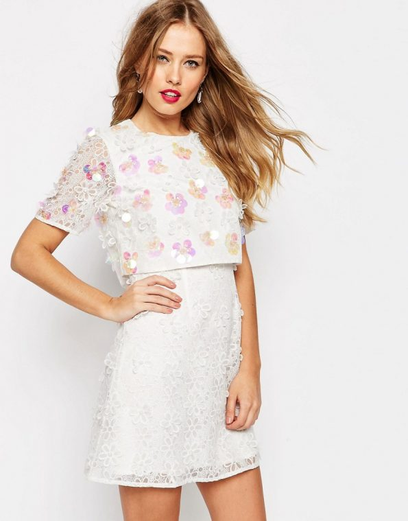 ASOS SALON 3D Floral Lace Embroidered Crop Top Mini occasion Dress