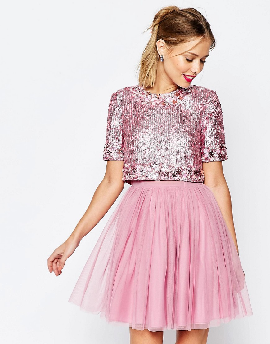 ASOS SALON Crystal Crop Top Tutu Netted Mini Skater Dress €169.01