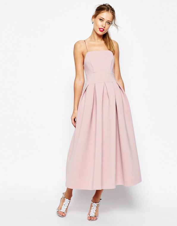 ASOS Salon Strappy Pinny Scuba Prom Midi occasion Dress