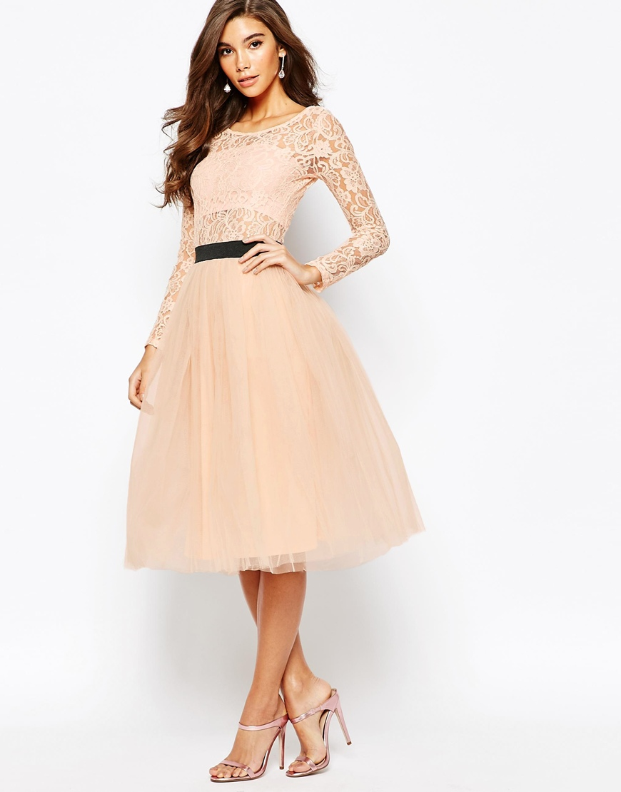 70ddbf5a2935c Asos Rare London Sheer Lace Tutu Dress With Contrast Waistband And Tulle  Skirt