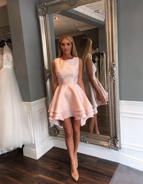 Cari Layered Skater occasion Dress in Blush