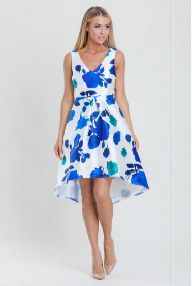 Floral Printed Dipped Hem Skater occasion Dress