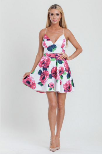 Floral Printed Skater occasion Dress