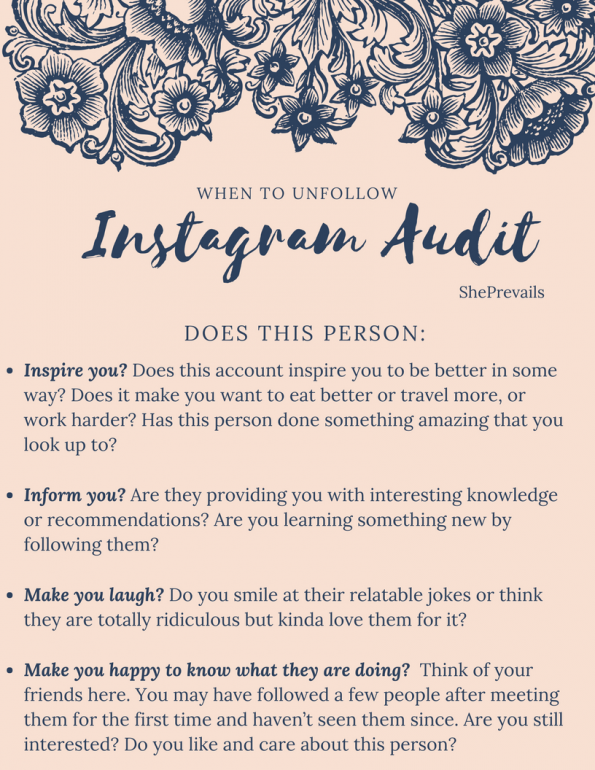 ShePrevails Instagram Following Audit