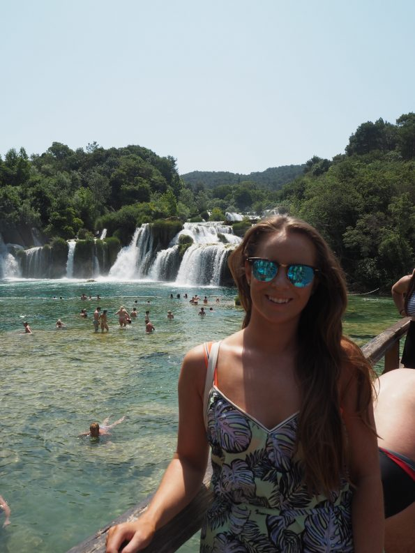 Sophie at krka waterfalls