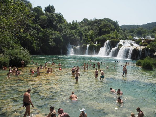 Swimming at Krka waterfalls